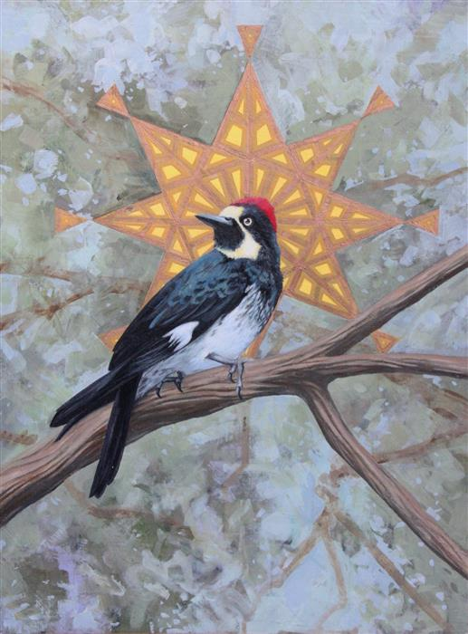 Original art for sale at UGallery.com | Melanerpes Formicivorus by JENNIFER WILDERMUTH REYES | $525 |  | 16' h x 12' w | ..\art\oil-painting-Melanerpes-Formicivorus