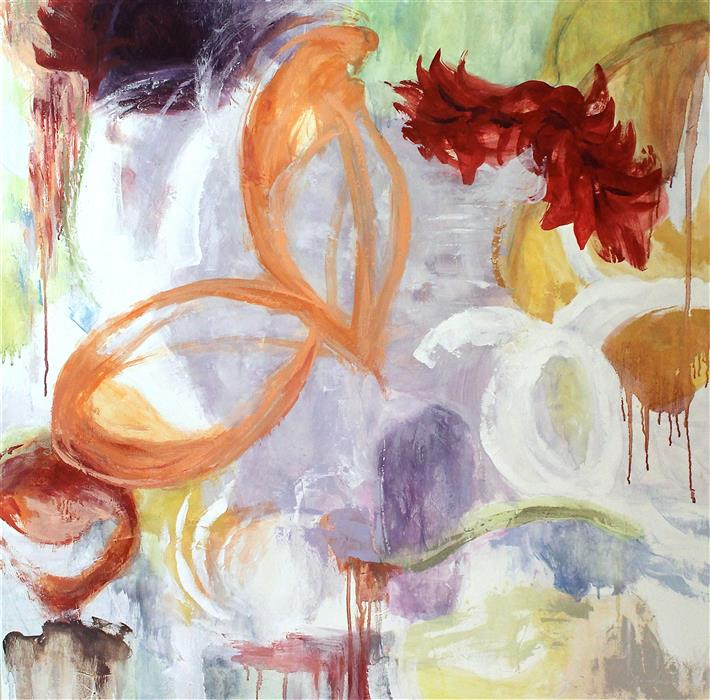 Original art for sale at UGallery.com | Blossom Evolution XXIX by Naoko Paluszak | $1,900 | oil painting | 36' h x 36' w | ..\art\oil-painting-Blossom-Evolution-XXIX