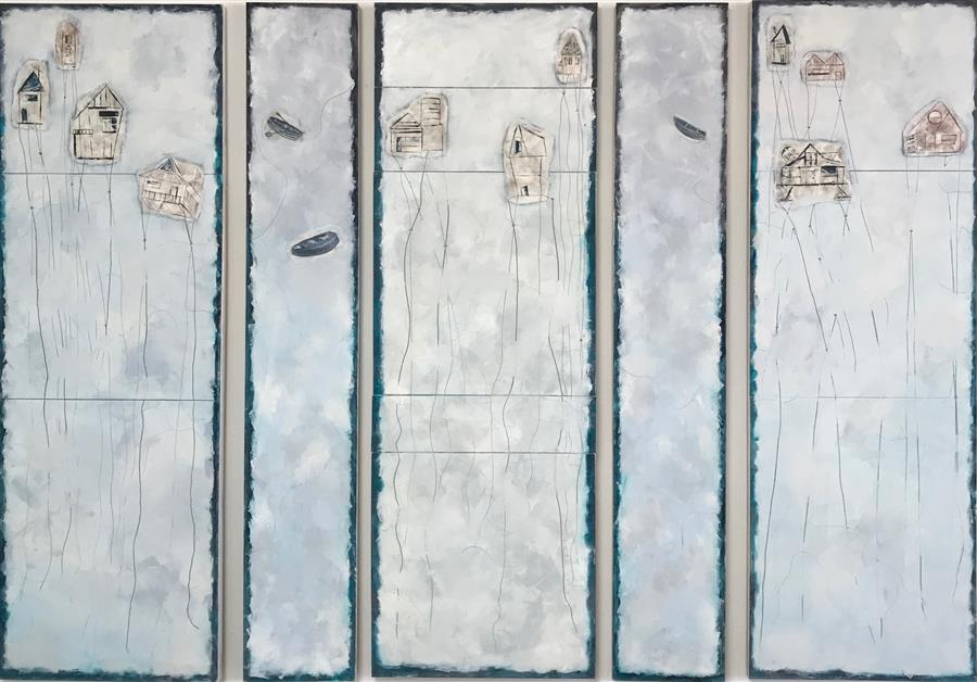 Original art for sale at UGallery.com | Coastal Living by Leslie Morgan | $6,725 | mixed media artwork | 72' h x 96' w | ..\art\mixed-media-artwork-Coastal-Living
