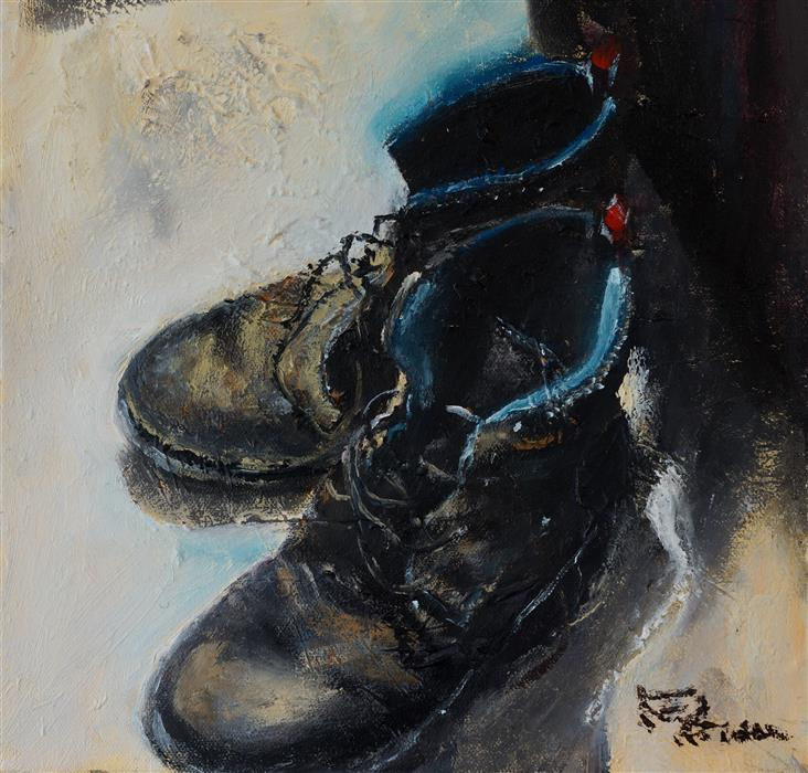 Original art for sale at UGallery.com | Ol' Kicks by WYNSTON EDUN | $475 |  | 12' h x 12' w | ..\art\acrylic-painting-Ol-Kicks