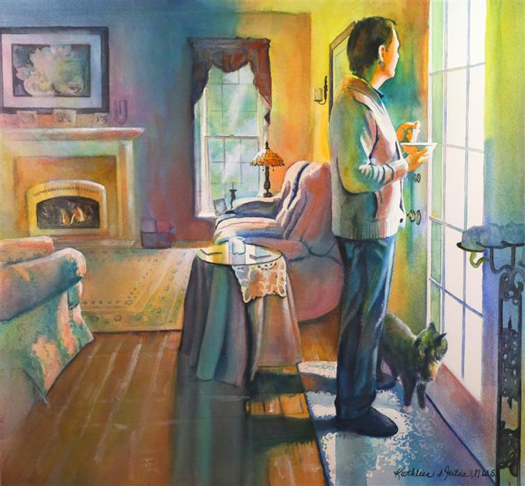 Original art for sale at UGallery.com | Saturday Morning by KATHLEEN  GILES | $1,750 |  | 20.5' h x 22' w | ..\art\watercolor-painting-Saturday-Morning