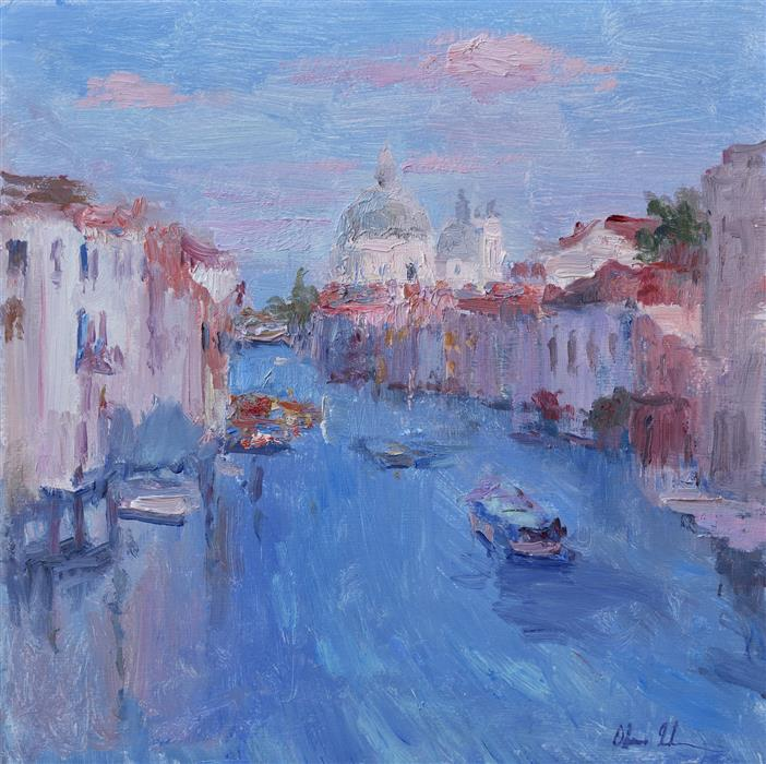 Original art for sale at UGallery.com | Morning in Venice by OKSANA JOHNSON | $775 |  | 12' h x 12' w | ..\art\oil-painting-Morning-in-Venice