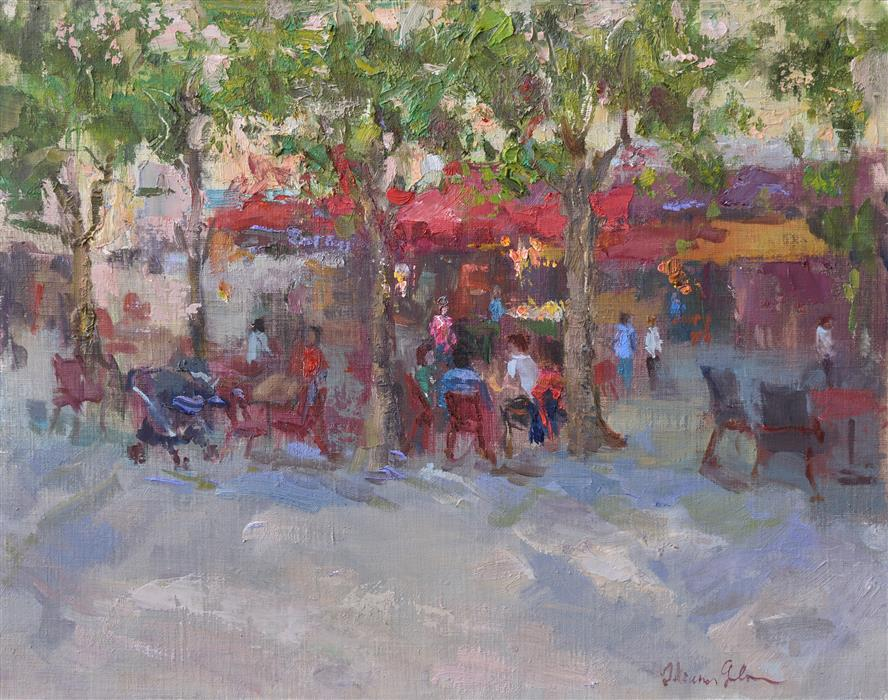 Original art for sale at UGallery.com | At the Street Cafe by OKSANA JOHNSON | $700 |  | 11' h x 14' w | ..\art\oil-painting-At-the-Street-Cafe