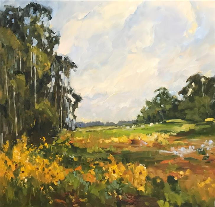 Original art for sale at UGallery.com | Field of Gold by STEPHANIE AMATO | $2,850 |  | 36' h x 36' w | ..\art\oil-painting-Field-of-Gold-58326