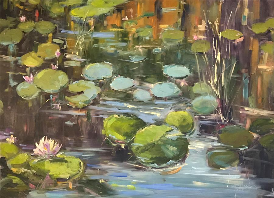 Original art for sale at UGallery.com | Lily Pond Reflections by STEPHANIE AMATO | $2,700 |  | 30' h x 40' w | ..\art\oil-painting-Lily-Pond-Reflections