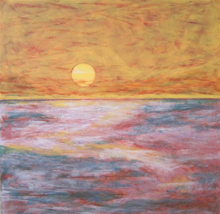 Original art for sale at UGallery.com | New Rising Sun by Valerie Berkely | $950 | oil painting | 24' h x 24' w | ..\art\oil-painting-New-Rising-Sun