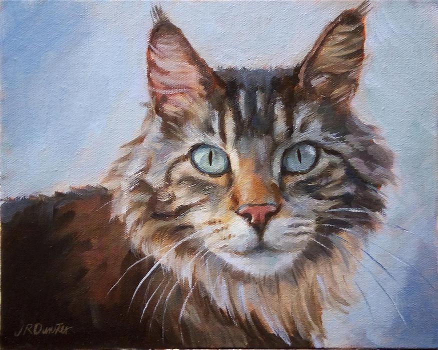 Original art for sale at UGallery.com | Beautiful Maine Coon by J. DUNSTER | $400 |  | 8' h x 10' w | ..\art\oil-painting-Beautiful-Maine-Coon