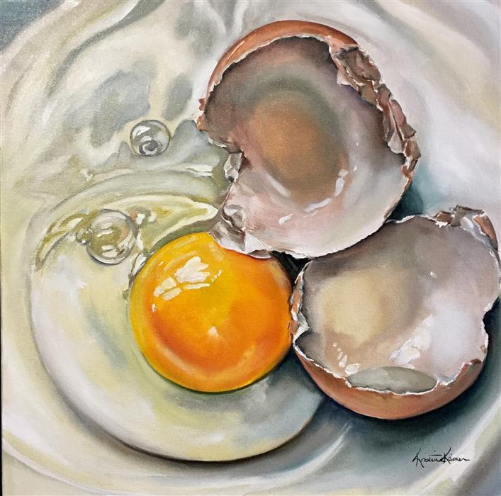 Original art for sale at UGallery.com | Cracked Brown Egg on China by KRISTINE KAINER | $1,650 |  | 20' h x 20' w | ..\art\oil-painting-Cracked-Brown-Egg-on-China