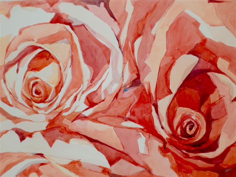 Original art for sale at UGallery.com | Roses Bloom by JO MACKENZIE | $875 |  | 22' h x 30' w | ..\art\watercolor-painting-Roses-Bloom