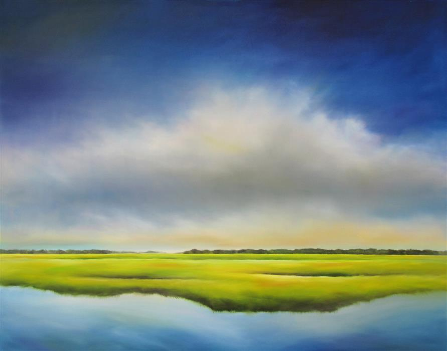 Original art for sale at UGallery.com | Waterway Marsh Cloud by NANCY HUGHES MILLER | $4,075 |  | 48' h x 60' w | ..\art\oil-painting-Waterway-Marsh-Cloud