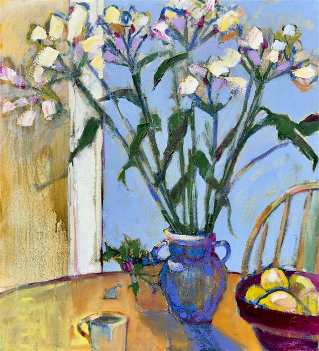 Original art for sale at UGallery.com | Flowers in a Blue Vase by JAMES HARTMAN | $2,325 |  | 34' h x 31.25' w | ..\art\oil-painting-Flowers-in-a-Blue-Vase
