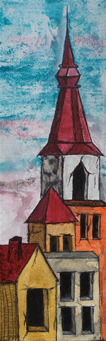 Original art for sale at UGallery.com | Red Rooftops III by LAURA CARTER | $300 |  | 12' h x 4' w | ..\art\acrylic-painting-Red-Rooftops-III
