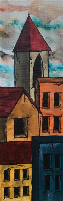 Original art for sale at UGallery.com | Red Rooftops V by LAURA CARTER | $300 |  | 12' h x 4' w | ..\art\acrylic-painting-Red-Rooftops-V