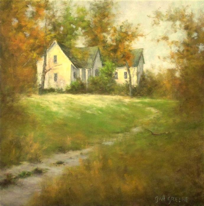 Original art for sale at UGallery.com | House on the Hill by GAIL GREENE | $400 |  | 12' h x 12' w | ..\art\oil-painting-House-on-the-Hill
