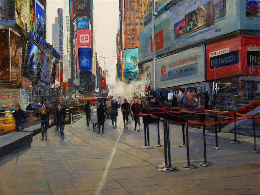 Original art for sale at UGallery.com | Times Square by ONELIO MARRERO | $1,000 |  | 18' h x 24' w | ..\art\oil-painting-Times-Square