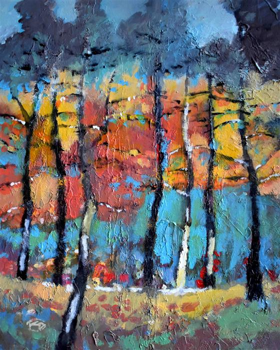 Original art for sale at UGallery.com | Hillside Trees by KIP DECKER | $1,375 |  | 30' h x 24' w | ..\art\acrylic-painting-Hillside-Trees