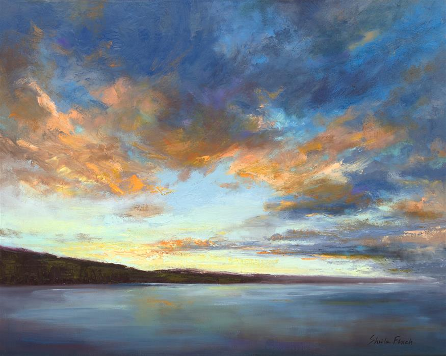 Original art for sale at UGallery.com | Sunrise at Surfers Beach by Sheila Finch | $1,900 | oil painting | 16' h x 20' w | ..\art\oil-painting-Sunrise-at-Surfers-Beach