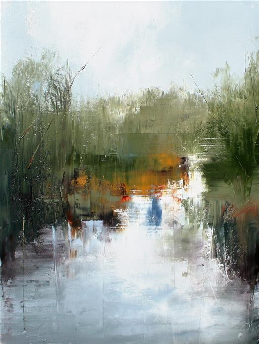 Original art for sale at UGallery.com | On Ebenezer River by RONDA WAIKSNIS | $750 |  | 30' h x 22' w | ..\art\oil-painting-On-Ebenezer-River