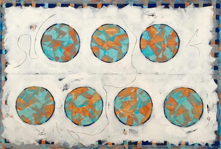 Original art for sale at UGallery.com | Seven Seas by Leslie Morgan | $1,000 | mixed media artwork | 24' h x 36' w | ..\art\mixed-media-artwork-Seven-Seas