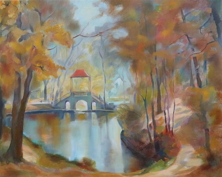 Original art for sale at UGallery.com | Autumn Park by DINA VOLKOVA | $425 |  | 16' h x 20' w | ..\art\oil-painting-Autumn-Park-58566