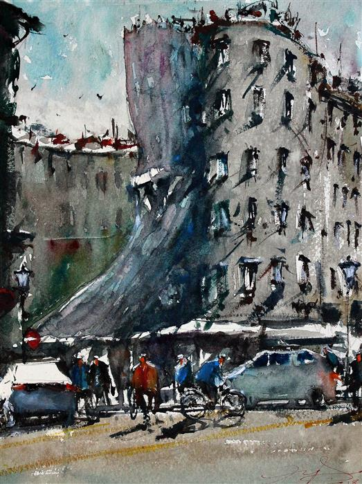 Original art for sale at UGallery.com | Prague Dancing House by MAXIMILIAN DAMICO | $700 |  | 12' h x 9.5' w | ..\art\watercolor-painting-Prague-Dancing-House