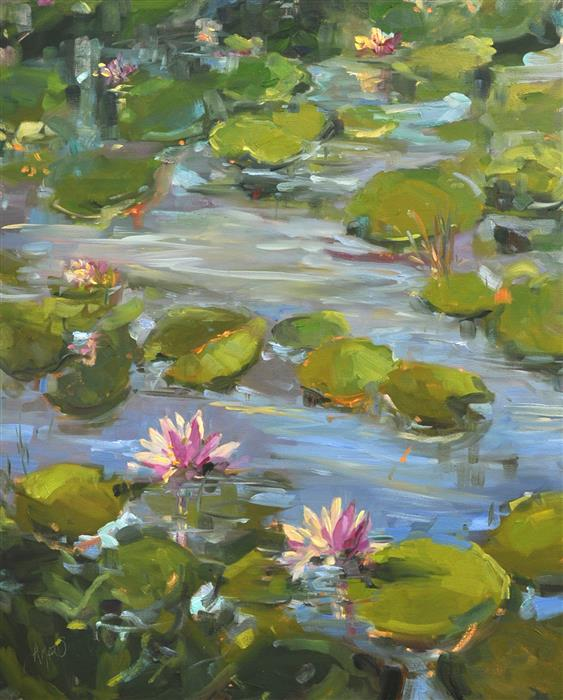 Original art for sale at UGallery.com | Waterlily Surprise by STEPHANIE AMATO | $1,975 |  | 30' h x 24' w | ..\art\oil-painting-Waterlily-Surprise