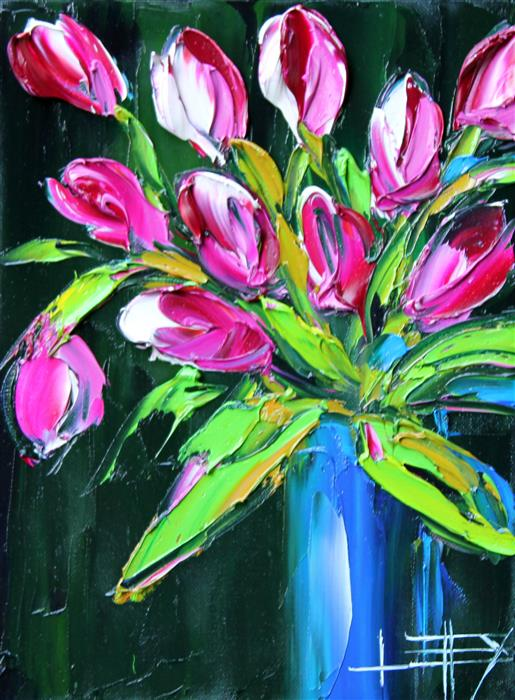 Original art for sale at UGallery.com | Spring Tulips! by LISA ELLEY | $300 |  | 12' h x 9' w | ..\art\oil-painting-Spring-Tulips