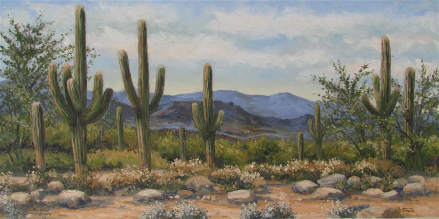 Original art for sale at UGallery.com | Sonoran Desert Vista by RON KENYON | $800 |  | 12' h x 24' w | ..\art\oil-painting-Sonoran-Desert-Vista