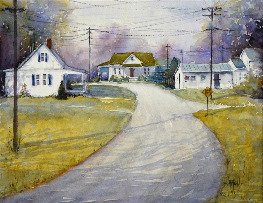 Original art for sale at UGallery.com | Just Around the Bend by Judy Mudd | $700 | watercolor painting | 11' h x 14' w | ..\art\watercolor-painting-Just-Around-the-Bend