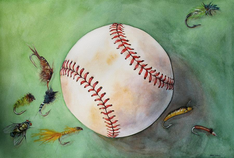 Original art for sale at UGallery.com | Fly Ball by DWIGHT SMITH | $525 |  | 15' h x 22' w | ..\art\watercolor-painting-Fly-Ball