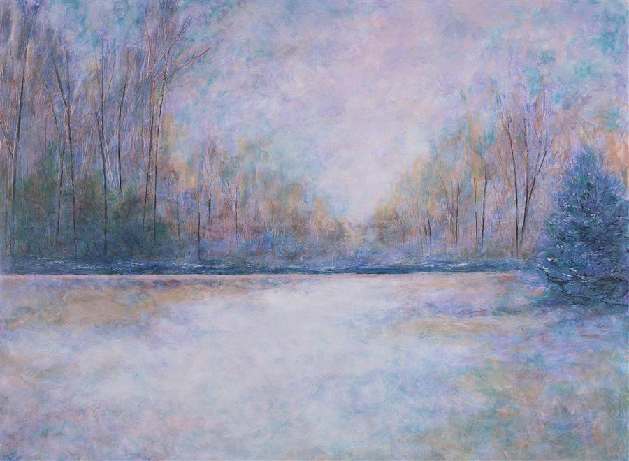 Original art for sale at UGallery.com | Trees In Winter by Valerie Berkely | $2,400 | oil painting | 36' h x 48' w | ..\art\oil-painting-Trees-In-Winter