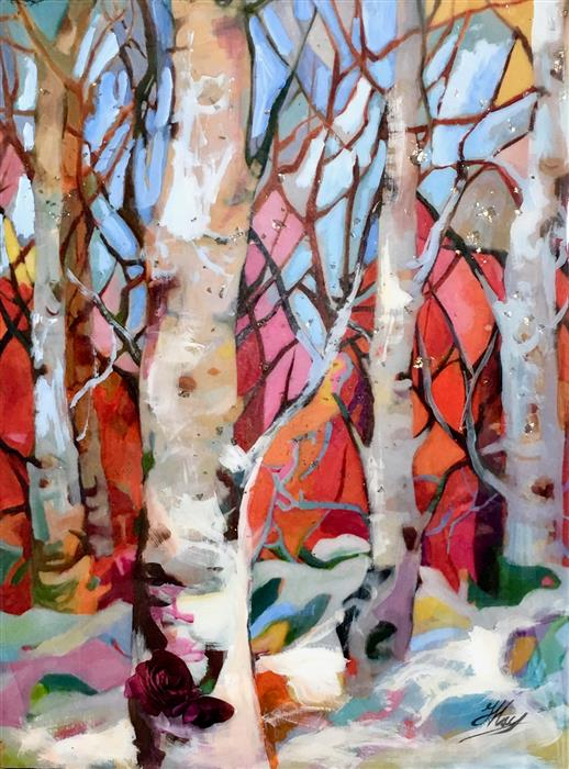 Original art for sale at UGallery.com | Birches by JULIA  HACKER | $975 |  | 24' h x 18' w | ..\art\mixed-media-artwork-Birches
