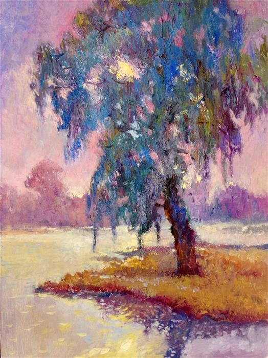 Original art for sale at UGallery.com | Weeping Willow in the Fog, Evening Light by SUREN NERSISYAN | $1,000 |  | 32' h x 24' w | ..\art\oil-painting-Weeping-Willow-in-the-Fog-Evening-Light