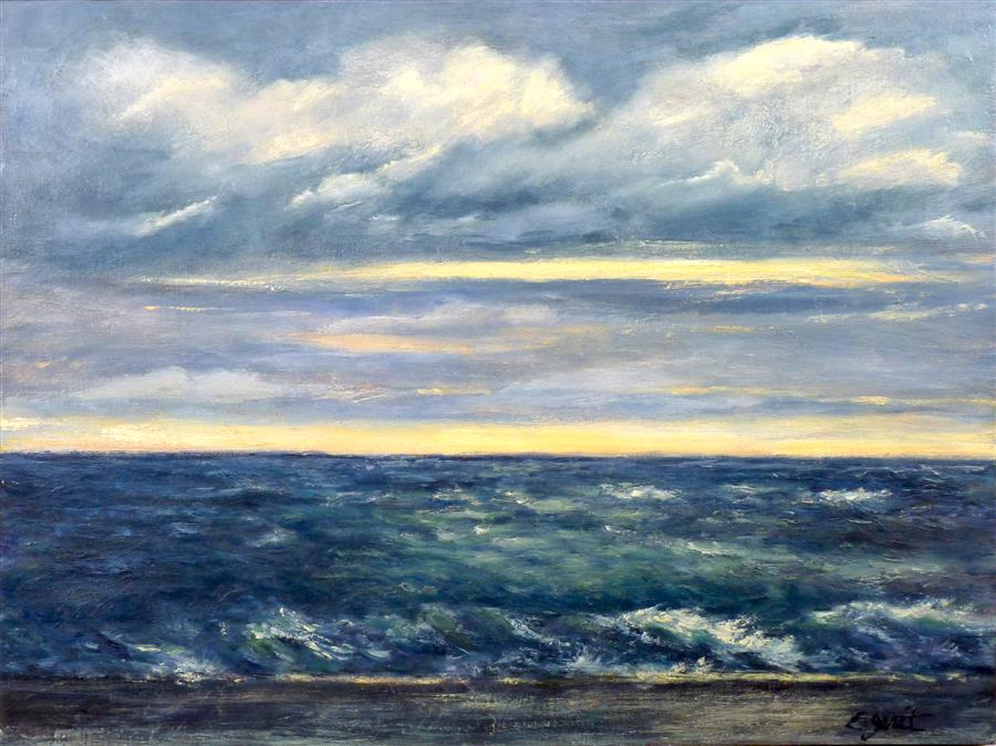 Original art for sale at UGallery.com | Ocean No. 4 by ELIZABETH GARAT | $1,000 |  | 18' h x 24' w | ..\art\oil-painting-Ocean-No-4