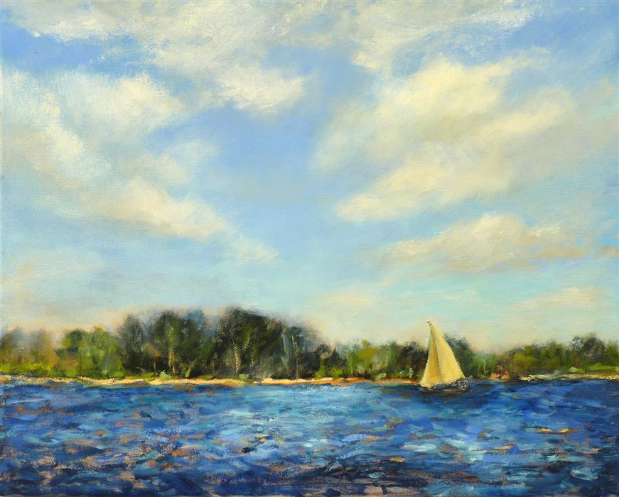 Original art for sale at UGallery.com | Yellow Sail  by Elizabeth Garat | $800 | oil painting | 16' h x 20' w | ..\art\oil-painting-Yellow-Sail