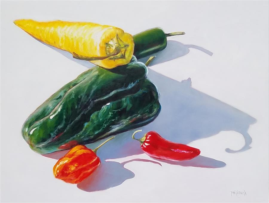 Original art for sale at UGallery.com | Food Portraits in White, 5 Peppers by TAMI CARDNELLA | $1,625 |  | 18' h x 24' w | ..\art\oil-painting-Food-Portraits-in-White-5-Peppers