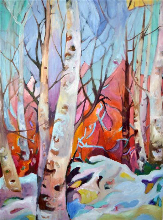 Original art for sale at UGallery.com | Snow Is Still on the Ground, March by JULIA  HACKER | $2,150 |  | 40' h x 30' w | ..\art\oil-painting-Snow-Is-Still-on-the-Ground-March