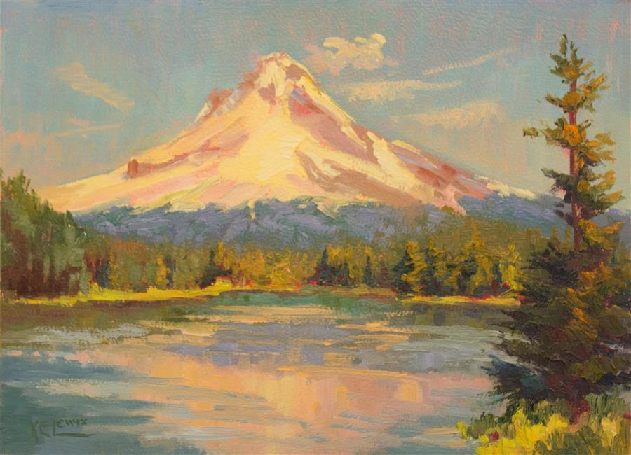 Original art for sale at UGallery.com | Trillium Lake and Snowy Mountain by KAREN E LEWIS | $575 |  | 12' h x 16' w | ..\art\oil-painting-Trillium-Lake-and-Snowy-Mountain