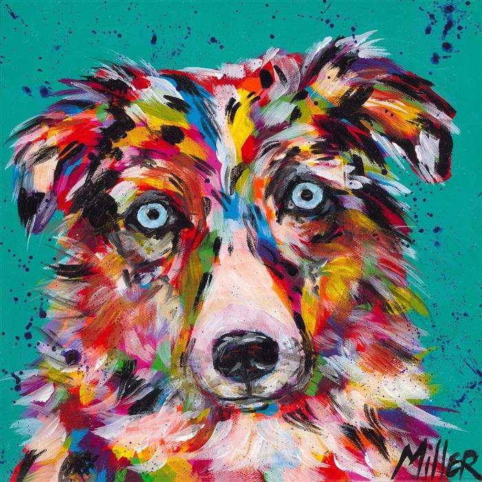 Original art for sale at UGallery.com | Blue Merle Stare by TRACY MILLER | $375 |  | 12' h x 12' w | ..\art\acrylic-painting-Blue-Merle-Stare
