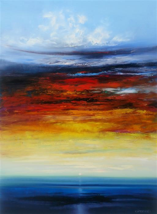 Original art for sale at UGallery.com | Awesome Sunset by George Peebles | $2,575 | oil painting | 48' h x 36' w | ..\art\oil-painting-Awesome-Sunset