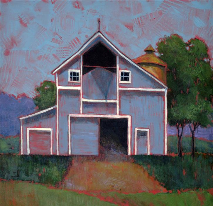 Original art for sale at UGallery.com | The Barn on the Left by ANNE LABAIRE | $850 |  | 24' h x 24' w | ..\art\acrylic-painting-The-Barn-on-the-Left