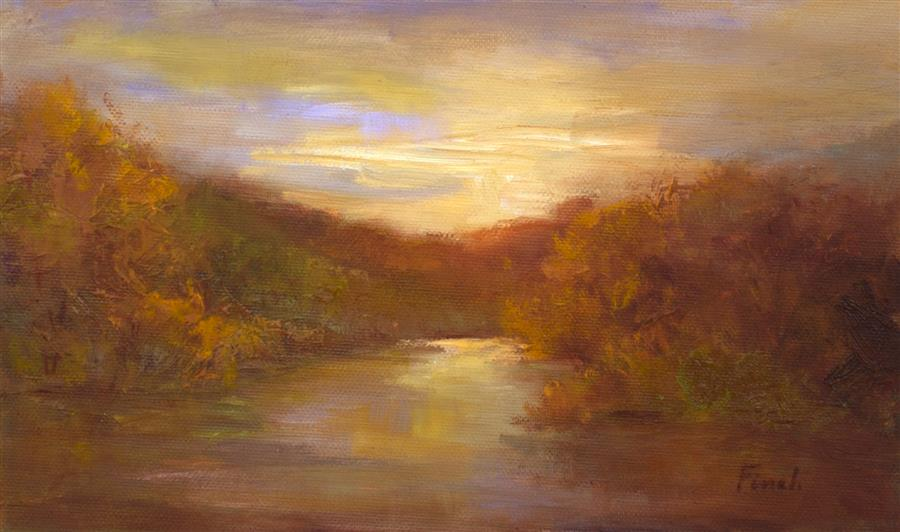 Original art for sale at UGallery.com | After Sunset by Sheila Finch | $425 | oil painting | 4.75' h x 8' w | ..\art\oil-painting-After-Sunset