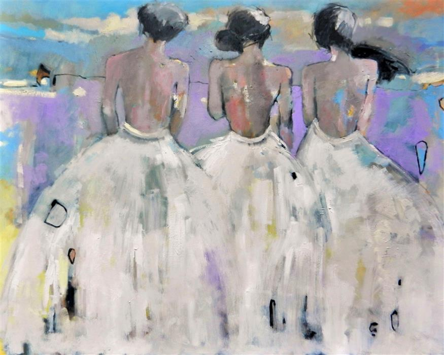 Original art for sale at UGallery.com | Ladies In Waiting by Mary Pratt | $5,350 | oil painting | 48' h x 60' w | ..\art\oil-painting-Ladies-In-Waiting