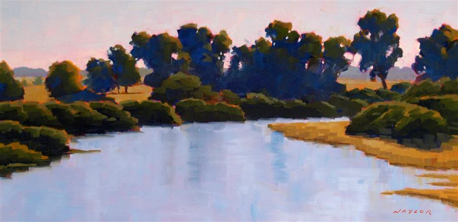 Original art for sale at UGallery.com | A Quiet River by RODGERS NAYLOR | $1,150 |  | 12' h x 24' w | ..\art\oil-painting-A-Quiet-River