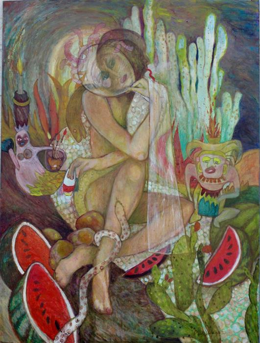 Original art for sale at UGallery.com | Sustenance by DIXIE SALAZAR | $1,400 |  | 40' h x 30' w | ..\art\oil-painting-Sustenance