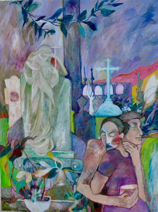 Original art for sale at UGallery.com | The Courtship by DIXIE SALAZAR | $1,400 |  | 36' h x 30' w | ..\art\oil-painting-The-Courtship