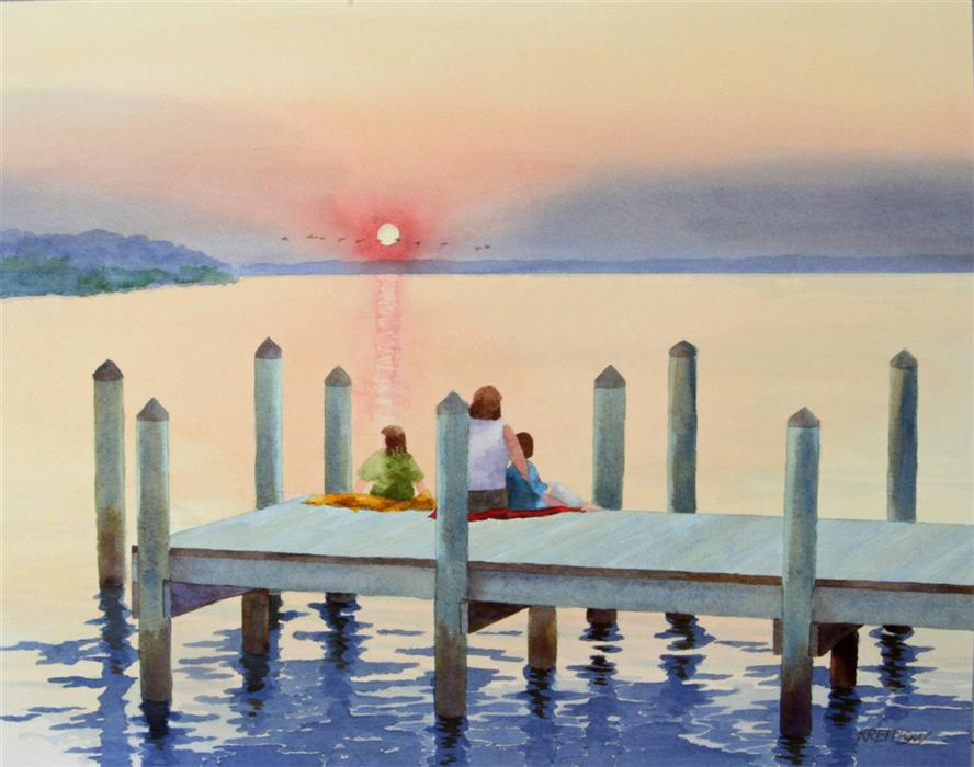 Original art for sale at UGallery.com | Sittin' On The Dock of The Bay by BILL KREITLOW | $700 |  | 18.24' h x 23.24' w | ..\art\watercolor-painting-Sittin-On-The-Dock-of-The-Bay