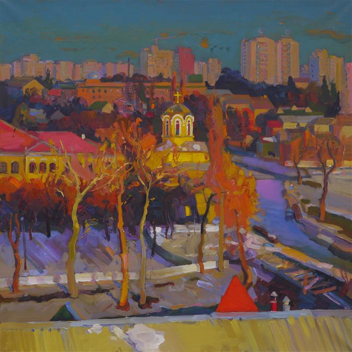 Original art for sale at UGallery.com | Sunny Chernihiv by VICTOR ONYSHCHENKO | $3,050 |  | 31.5' h x 31.5' w | ..\art\oil-painting-Sunny-Chernihiv