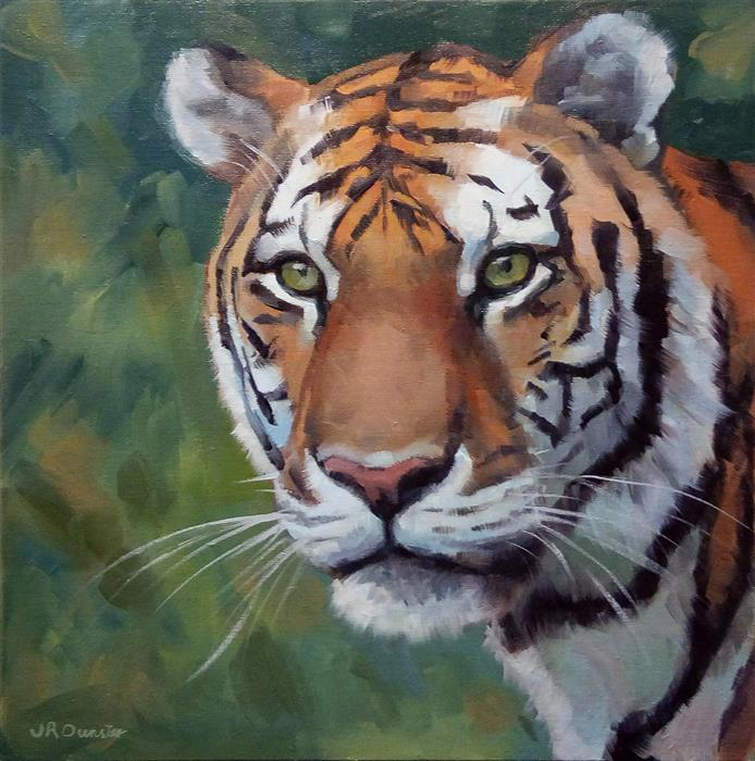 Original art for sale at UGallery.com | Vibrant Tiger by J. DUNSTER | $475 |  | 12' h x 12' w | ..\art\oil-painting-Vibrant-Tiger