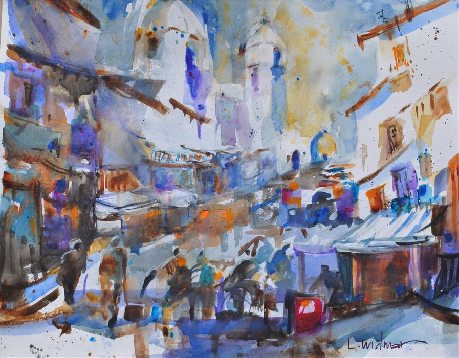 Original art for sale at UGallery.com | Dia del Mercado by Lanie Widmar | $775 | watercolor painting | 16' h x 20' w | ..\art\watercolor-painting-Dia-del-Mercado